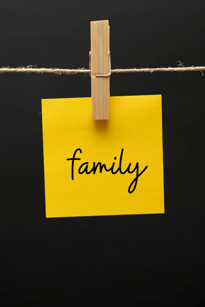 family written on yellow sticky note