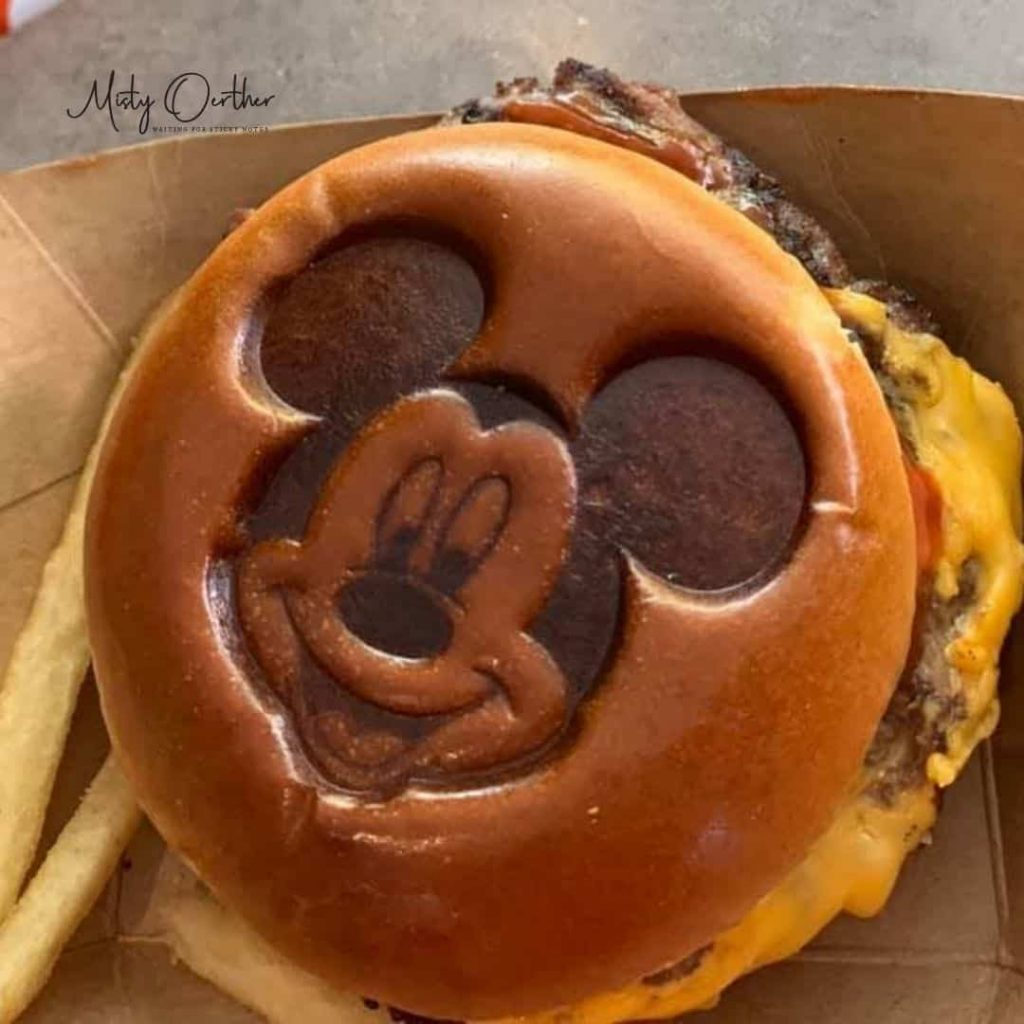 Mickey stamped burger at Cosmic Ray's Cafe
