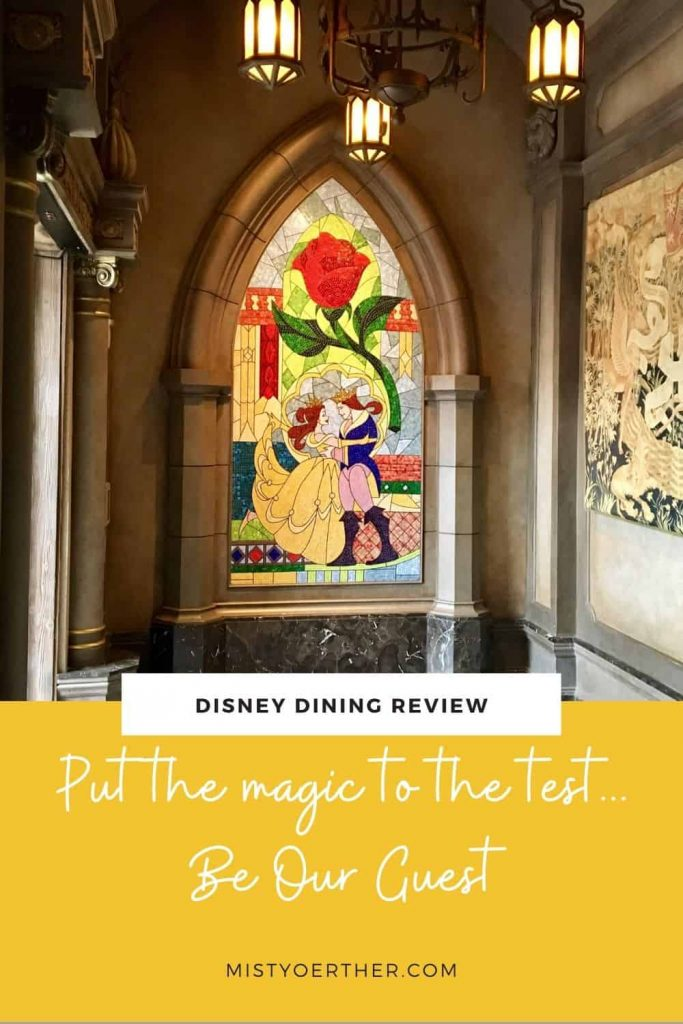 Pinterest image, Be Our Guest stained glass window